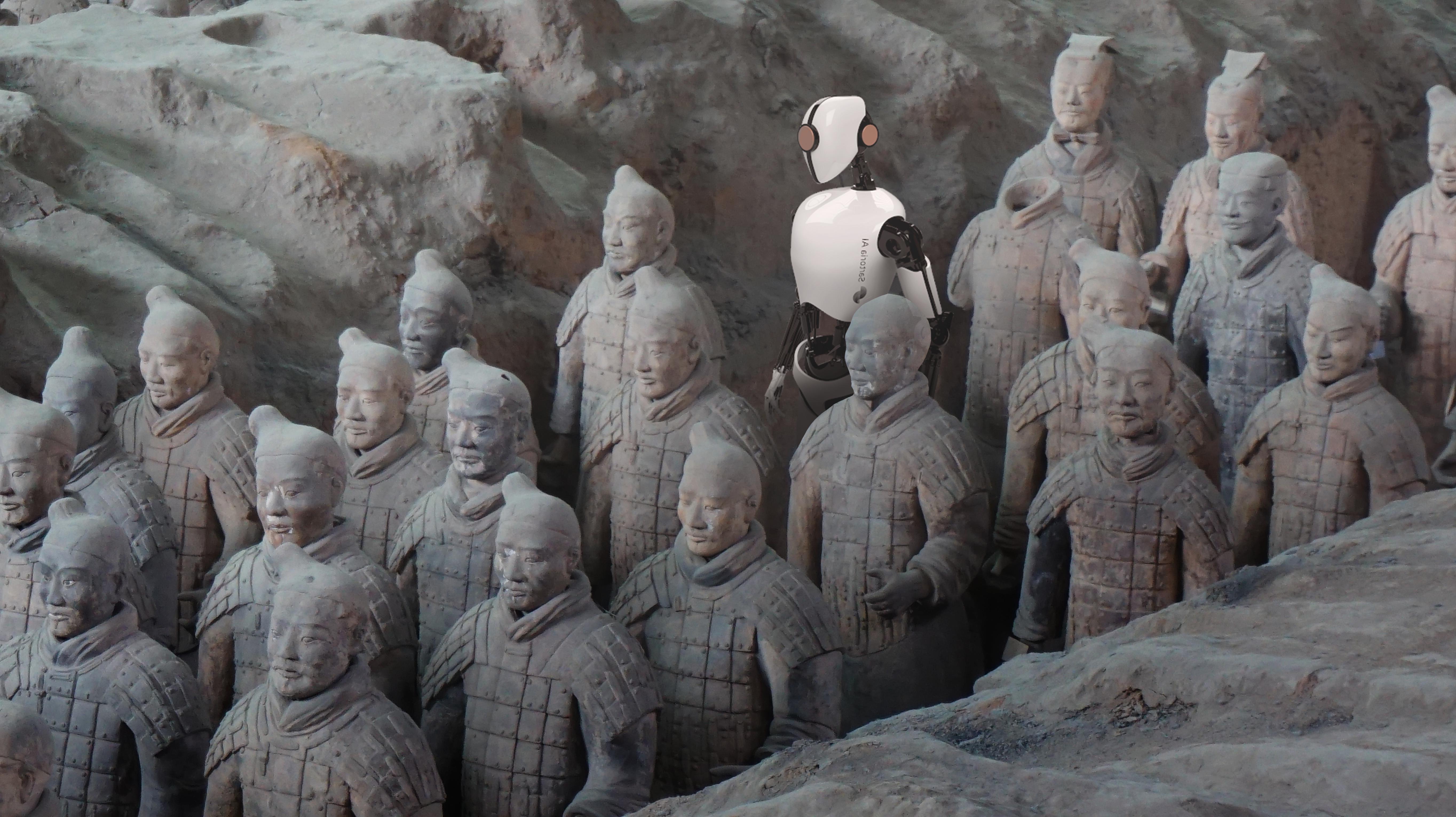 esercito di terracotta cinese con un elemento di Intelligenza Artificiale