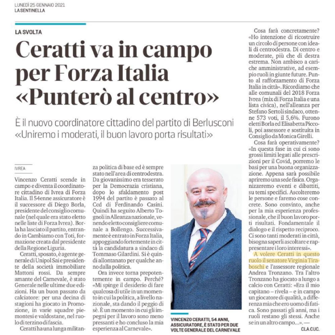 """Ceratti va in campo per Forza Italia """"Punterò al centro"""""""